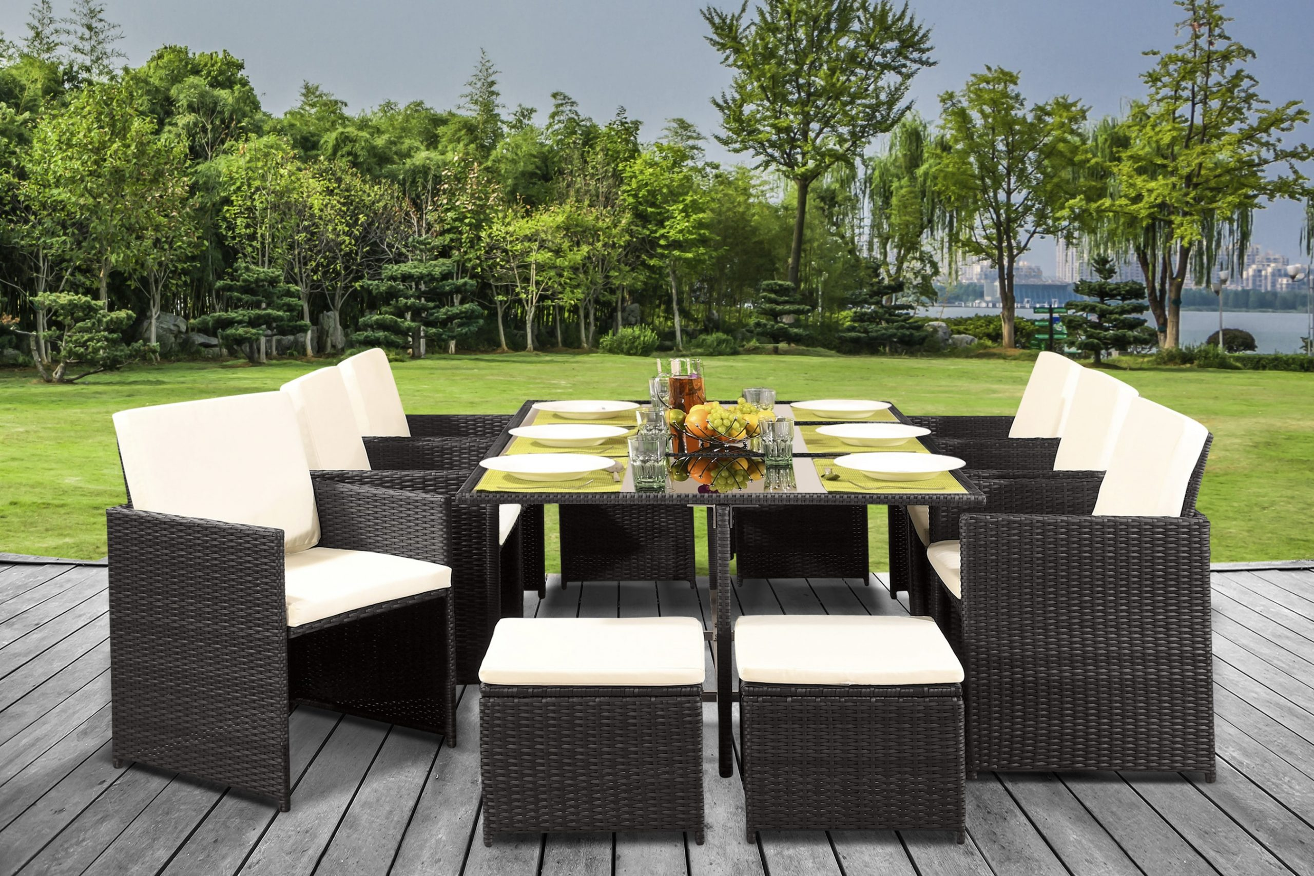 11 Piece Cube Rattan Dining Set With Optional Cover Uk Furniture 4u