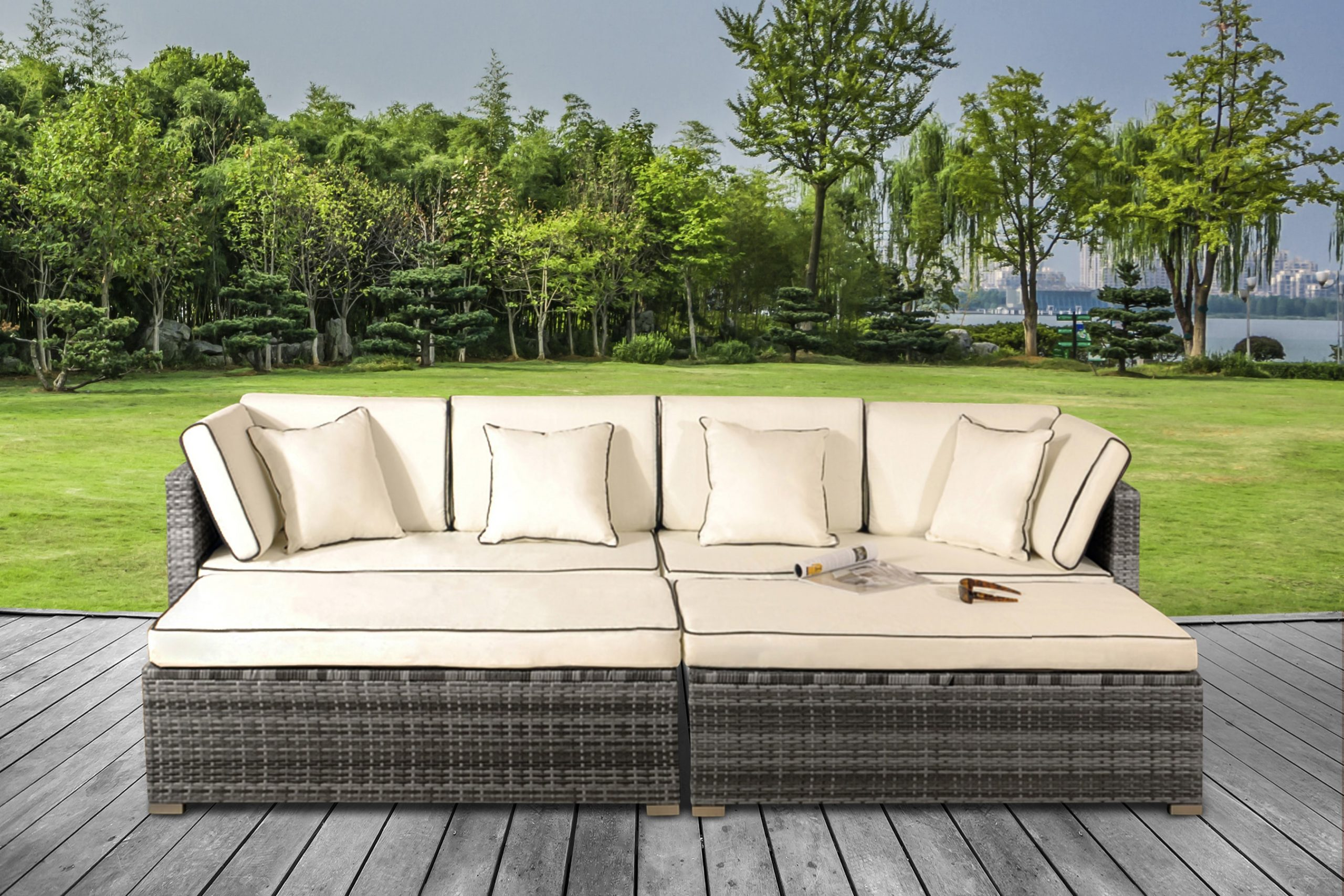Saint Lucia 4 Piece Rattan Daybed Lounge Set Uk Furniture 4u