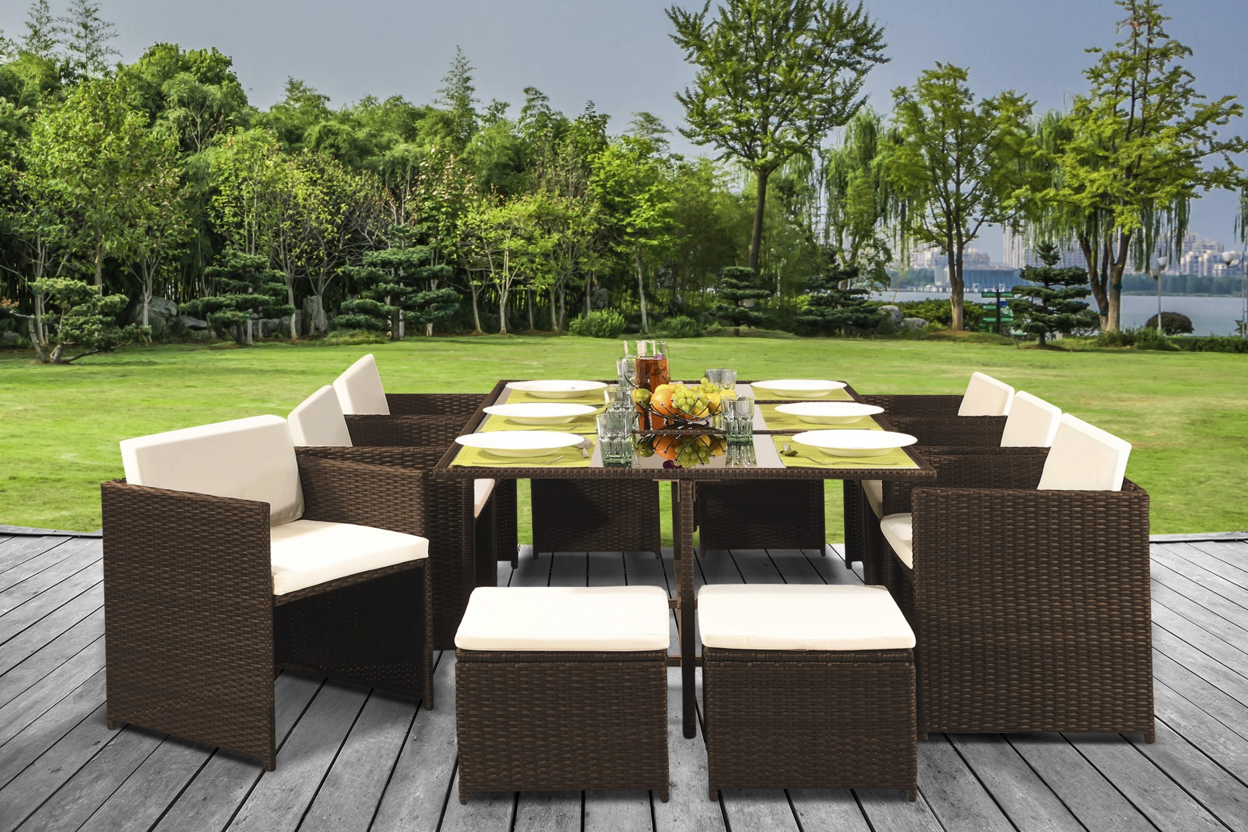 11 Piece Low Back Cube Rattan Dining Set with Optional ...